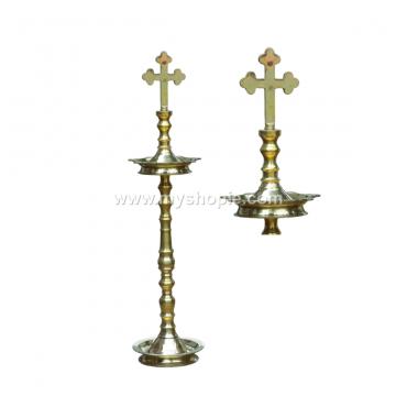Cross Headed Brass Oil Lamp