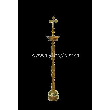 Plain Cross Head Brass Oil Lamp