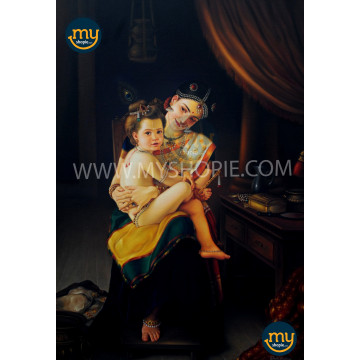 Yashoda Krishna Kerala Traditional Oil Painting