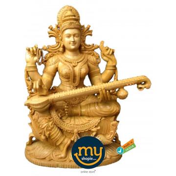 Goddess Saraswati Handicraft Wooden Sculpture