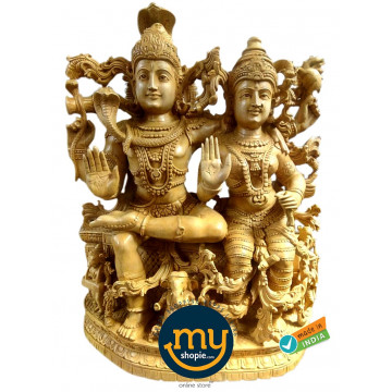 Lord Shiva and Parvati Handicraft Wooden Sculpture