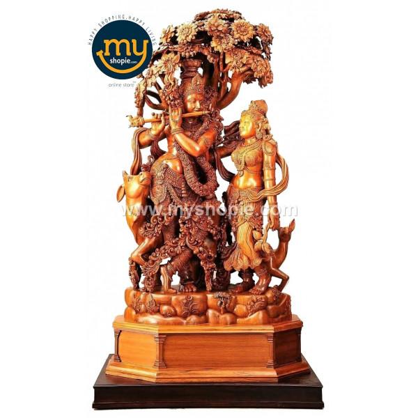 Lord Sri Krishna and Radha with Gomatha Handicraft Wooden Sculpture