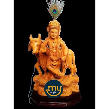 Shri Krishna with Gomatha Handicraft Wooden Sculpture