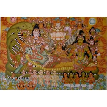 Anantashayana Vishnu Kerala Mural Painting