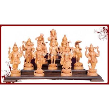 The Ten Incarnations of Lord Vishnu Wooden Sculpture