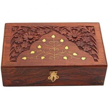 Flower design Carving Work Handicraft Wooden Box