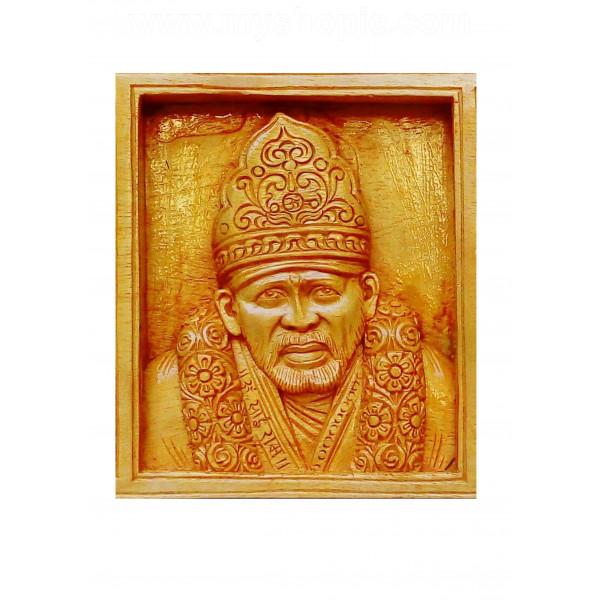 Shirdi Sai Baba Handicraft Wooden Square Panel