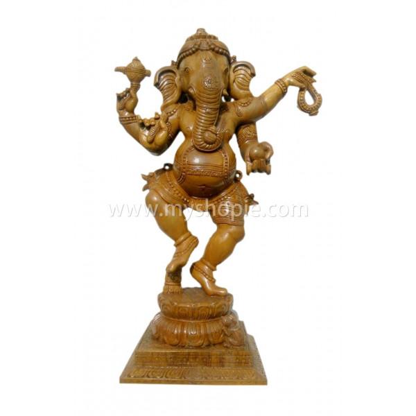 Dancing Ganesha Teak Wood Statue 18 inch