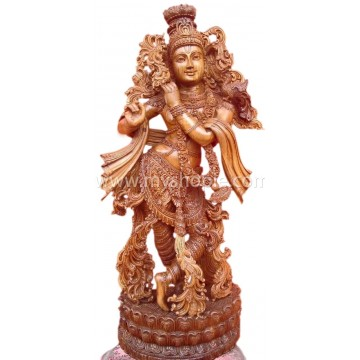 Shri Krishna Teak Wood Sculpture