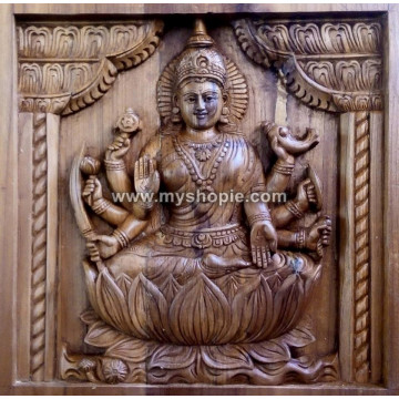 Handicraft Wooden Saraswati Square Panel