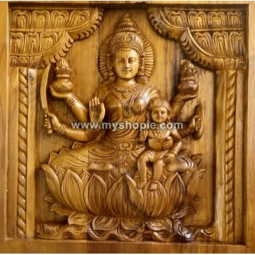 Parvathi with Subrahmanyan Handicraft Wooden Square Panel