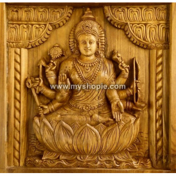 Goddess Durga Handicraft Wooden Square Panel