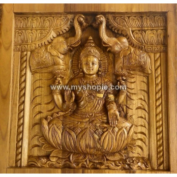 Goddess Saraswati Handicraft Wooden Square Panel
