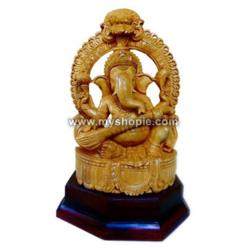 Lord Ganesha Playing Veena Sculpture