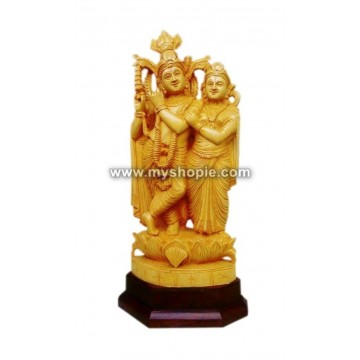 Radha and Krishna Wooden Sculpture