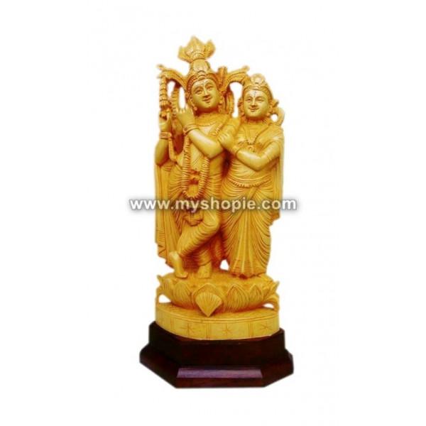 Radha and Krishna Wooden Sculpture