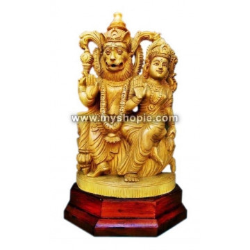 Narasimha with Lakshmi Wooden Sculpture