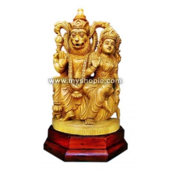 Narasimha with Lakshmi Wooden Sculpture