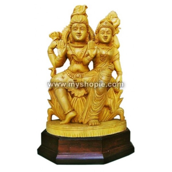 Lord Shiva and Parvati  Wooden Sculpture