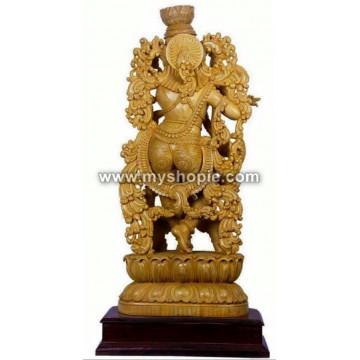 Lord Shri Krishna Wooden Sculpture