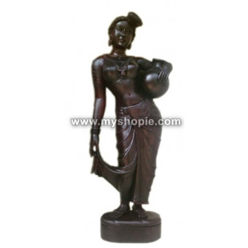 The Village Girl Wooden Sculpture